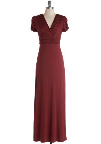 Steph in the Right Direction Dress - Long, Jersey, Knit, Red, Solid, Ruching, Casual, Maxi, Short Sleeves, Good, V Neck