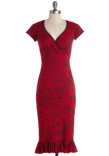 Just Like the Movies Dress in Red - Long, Cotton, Knit, Red, Black, Floral, Ruffles, Party, Rockabilly, Shift, Cap Sleeves, Better