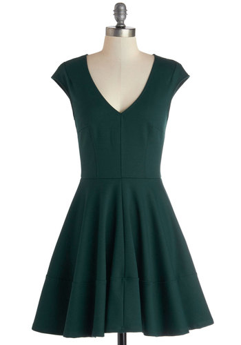 Curtsy for Yourself Dress - Mid-length, Knit, Green, Solid, Casual, A-line, Cap Sleeves, Better, V Neck, Minimal, Fit & Flare