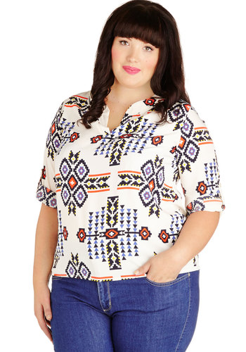 Play Attention Top in Plus Size - Woven, Multi, Tan / Cream, Black, Print, 3/4 Sleeve, Folk Art