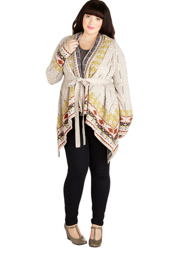 Indefinable Beauty Cardigan in Plus Size - Knit, Tan, Red, Yellow, Grey, White, Print, Belted, Casual, Boho, Travel, Long Sleeve, Fall, Multi, Long Sleeve