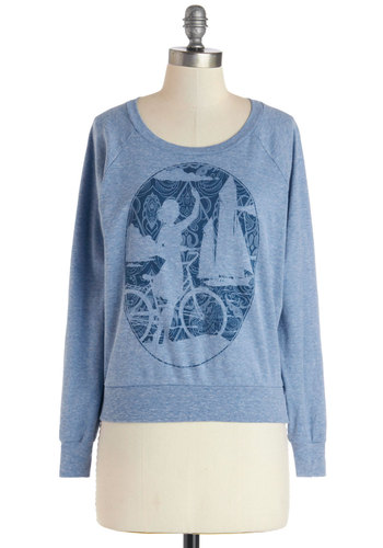 Bay Adieu Sweatshirt - Blue, Novelty Print, Long Sleeve, Better, Knit, Jersey, Short, Casual, Sweatshirt, Scoop, Blue, Long Sleeve