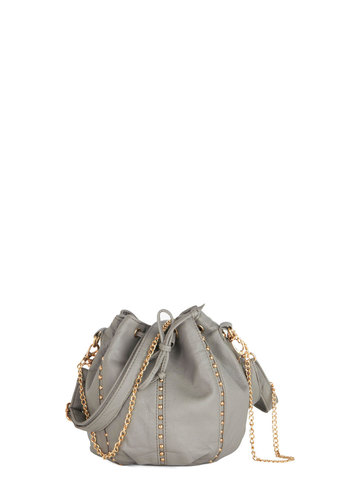 Mantra for Moxie Bag - Faux Leather, Grey, Gold, Solid, Studs