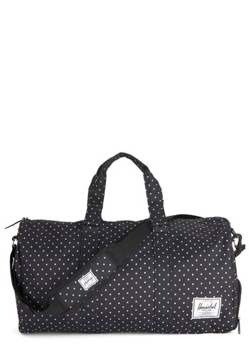 Away With Words Weekend Bag in Dotted Black by Herschel Supply Co. - Black, White, Polka Dots, Travel, Woven, Casual, Variation