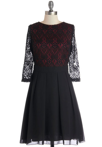 Firelit Feast Dress - Black, Lace, Cocktail, A-line, 3/4 Sleeve, Better, Chiffon, Sheer, Woven, Red, Pleats, Exposed zipper, Holiday Party