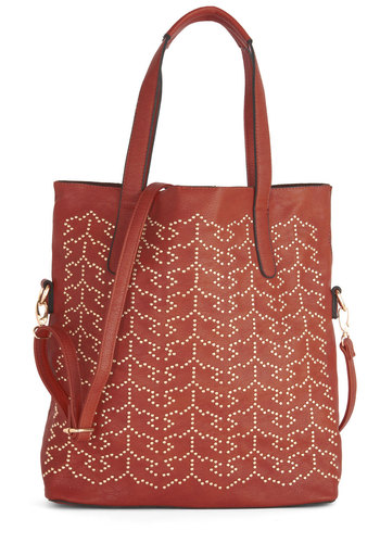 Alfresco Inspiration Bag - Red, Solid, Studs, Better, Faux Leather, Gold, Work