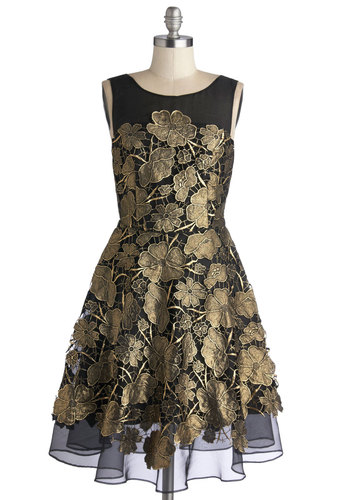 Soiree Anything Dress by Eva Franco - Gold, Black, Floral, Cocktail, Holiday Party, A-line, Sleeveless, Best, Boat, Sheer, Woven, Mid-length, Luxe, Prom