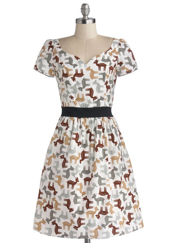 Cheeriest and Dearest Dress by Bea & Dot - Mid-length, Cotton, Woven, Private Label, White, Brown, Tan / Cream, Grey, Print with Animals, Pockets, Casual, A-line, Short Sleeves, Better, Exclusives, Holiday