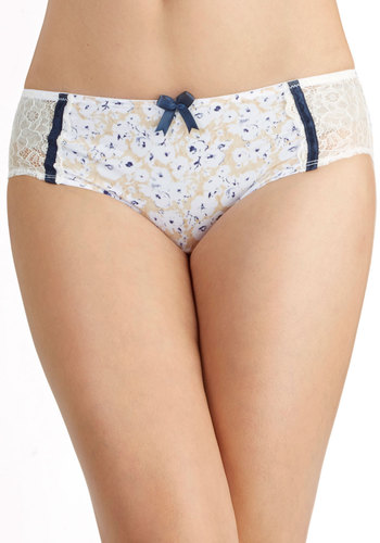 Book-Pressed Flowers Undies - Cream, Blue, Multi, Floral, Bows, Trim, Sheer, Knit