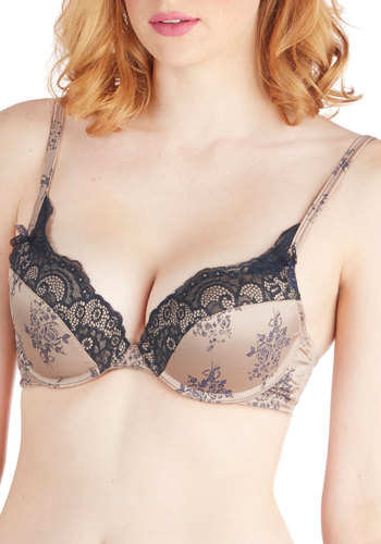 Stamped, Sealed, Delivered Push-Up Bra - Blue, Floral, Bows, Lace, Trim, French / Victorian, Spaghetti Straps, Knit, Tan