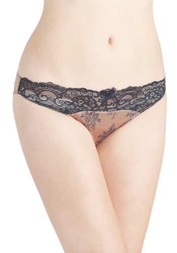 Stamped, Sealed, Delivered Undies - Blue, Floral, Bows, Lace, Trim, French / Victorian, Tan