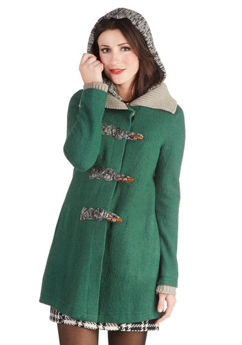 Expert in Your Field Hockey Coat - Green, Grey, Solid, Long Sleeve, Better, Knit, Woven, 2, Pockets, Vintage Inspired, 60s, 70s, Fall, Long