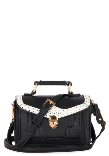 Little Joys Bag - Black, White, Gold, Solid, Trim, Better, Faux Leather, Film Noir, Vintage Inspired, 30s, 40s