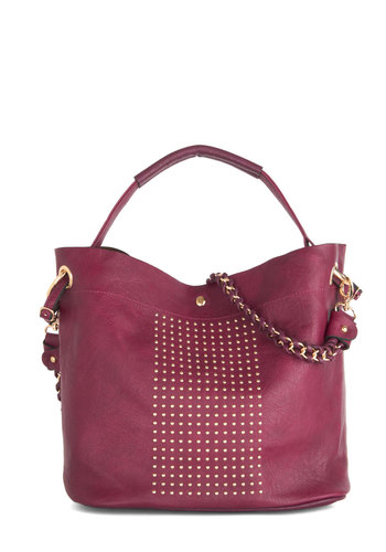 Jaunty Joie de Vivre Bag - Purple, Gold, Solid, Studs, Better, Faux Leather, Work