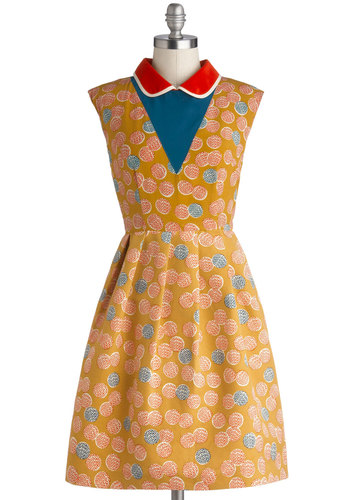 Lauren Moffatt Croquet Madame Dress by Lauren Moffatt - Mid-length, Woven, Yellow, Red, Blue, White, Print, Pockets, Casual, A-line, Sleeveless, Best, Collared