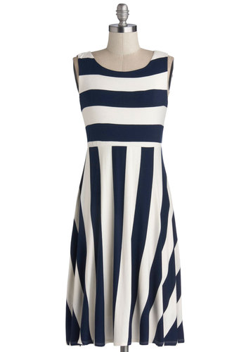 Byline Bliss Dress - Jersey, Knit, Blue, White, Stripes, Casual, A-line, Sleeveless, Good, Scoop, Nautical, Mid-length, Spring, Beach/Resort