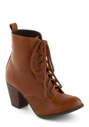 Step it Upright Bootie in Whiskey by Chelsea Crew - Mid, Faux Leather, Tan, Solid, Vintage Inspired, Better, Lace Up, Fall, Variation