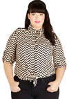 Milan Vacation Top in Plus Size - Sheer, Woven, Tan / Cream, Black, Chevron, Buttons, Casual, Button Down, 3/4 Sleeve, Collared, Gifts Sale