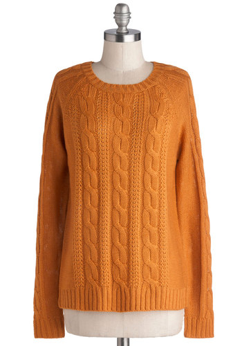 Sugar and Pumpkin Spice Sweater - Yellow, Solid, Long Sleeve, Good, Mid-length, Knit, Knitted, Casual, Fall, Winter, Crew, Orange, Long Sleeve