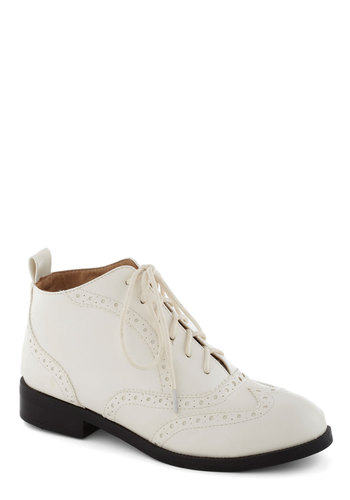 Sleek House Bootie in White by Chelsea Crew - Low, Faux Leather, White, Solid, 20s, 30s, Better, Lace Up, Menswear Inspired, Vintage Inspired, Variation