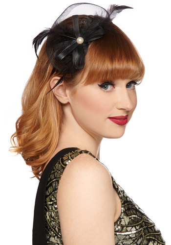 Fluent in Fanciful Hair Clip - Black, White, Solid, Bows, Feathers, Pearls, Formal, Holiday Party, Good, Woven, Vintage Inspired