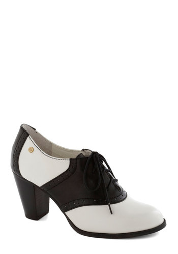 Ode to the Optimist Heel by Bass - White, Party, Daytime Party, Menswear Inspired, Colorblocking, Leather, Lace Up, Mid, Black, Work, Vintage Inspired, 50s