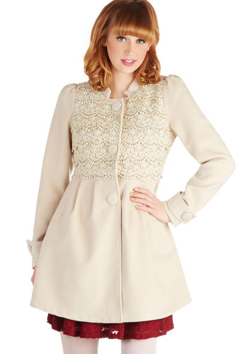 Pick Your Pastry Coat by Ryu - Long, 3, Cream, Solid, Buttons, Crochet, Pockets, Long Sleeve, White