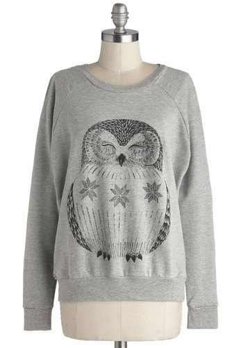 Bird of Wisdom Sweatshirt - Jersey, Knit, Mid-length, Grey, Black, Print with Animals, Casual, Owls, Sweatshirt, Long Sleeve, Better, Scoop, Folk Art, Grey, Long Sleeve