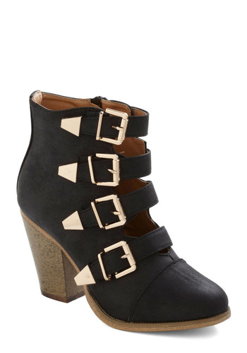 Edge of Eminence Bootie in Black - Black, Buckles, Statement, Chunky heel, Better, Mid, Faux Leather, Variation