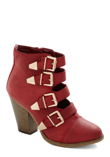 Edge of Eminence Bootie in Scarlet - Red, Buckles, Statement, Chunky heel, Better, Mid, Faux Leather, Variation