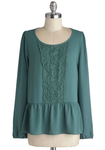 Published Poet Top - Mid-length, Chiffon, Woven, Lace, Steampunk, Peplum, Long Sleeve, Better, Scoop, Green, Casual, French / Victorian, Green, Long Sleeve, Lace