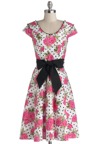Inspiring Smiles Dress - Pink, Black, White, Polka Dots, Floral, Belted, Daytime Party, A-line, Sleeveless, Better, Long, Cotton, Woven