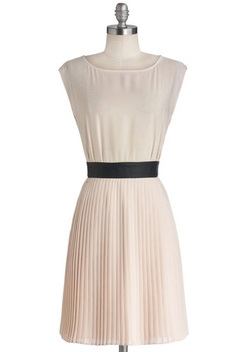 Prosecco at the Party Dress by BB Dakota - Cream, Black, Buttons, Cutout, Pleats, Party, A-line, Cap Sleeves, Boat, Mid-length, Woven