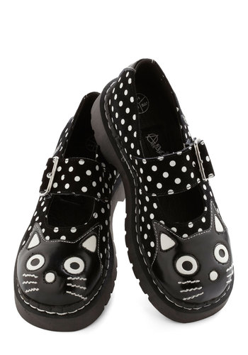 Here and Meow Shoe in Dots - Low, Faux Leather, Black, White, Polka Dots, Buckles, Cats, Better, Mary Jane, Print with Animals, Casual, Vintage Inspired, 90s, Variation, Critters