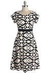 Kinetic Creativity Dress - Print, Casual, Mod, A-line, Better, Scoop, Long, Woven, Black, White, Short Sleeves