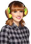 A Place in the Sunflower Earmuffs - Brown, Green, Tan / Cream, Black, Solid, Flower, Fall, Winter, Quirky