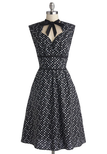 Prep the Playlist Dress - Long, Cotton, Woven, Black, Grey, White, Polka Dots, Tie Neck, Party, A-line, Sleeveless, Better, Pockets, Vintage Inspired, 50s, Sweetheart