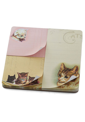 Cat-ch Your Thoughts Notepad Set by Cavallini & Co. - Multi, Cats, Good, Print with Animals
