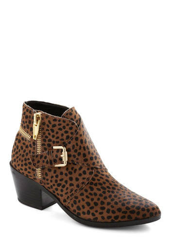 Out in Full Fierce Bootie by Dolce Vita - Mid, Leather, Tan, Animal Print, Buckles, Exposed zipper, Better, Black