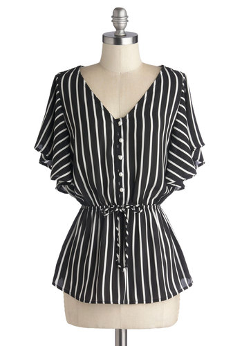 Afternoon of Entertaining Top - Chiffon, Woven, Black, Stripes, Buttons, Belted, 70s, Short Sleeves, Good, V Neck, White, Work, Vintage Inspired, Mid-length