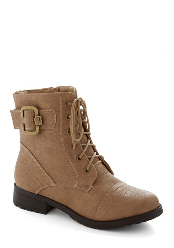 Fall For You Boot - Low, Faux Leather, Tan, Solid, Buckles, Lace Up, Safari, Fall