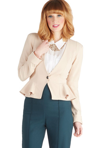 Lattés Night Blazer - Tan, Solid, Buttons, Peplum, Long Sleeve, Short, Woven, Ruffles, Work, White
