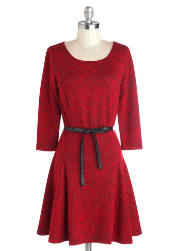 Dare to Dream Dress by Jack by BB Dakota - Mid-length, Knit, Red, Black, Paisley, Belted, Party, A-line, 3/4 Sleeve, Better, Scoop, Valentine's