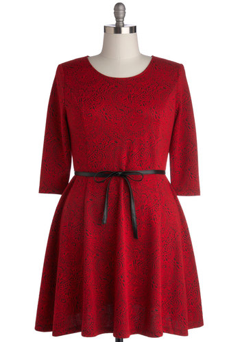 Dare to Dream Dress in Plus Size by BB Dakota - Knit, Red, Black, Paisley, Belted, Party, Holiday Party, A-line, 3/4 Sleeve, Scoop, Valentine's