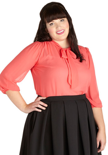 Sheer Bliss Top in Coral - Plus Size - Chiffon, Sheer, Coral, Solid, Tie Neck, Work, 3/4 Sleeve, Woven, Variation