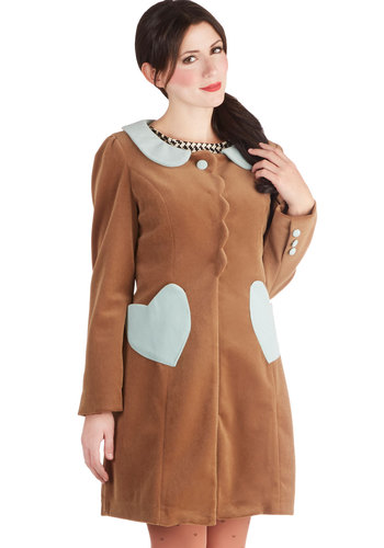Chocolat to Love Coat - Long, 3, Tan, Blue, Buttons, Peter Pan Collar, Pockets, Vintage Inspired, Long Sleeve, Better, Collared, Scallops, 60s