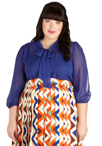 Sheer Bliss Top in Cobalt - Plus Size - Chiffon, Sheer, Blue, Solid, Tie Neck, Work, 3/4 Sleeve, Woven, Variation