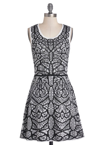 Lacewing it Dress - Short, Knit, Black, White, Print, Casual, A-line, Tank top (2 thick straps), Fall, Winter, Scoop