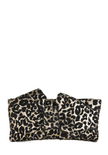 Betsey Johnson Wild About Style Clutch by Betsey Johnson - Black, Gold, Animal Print, Bows, Special Occasion, Better, Woven, Girls Night Out, 50s