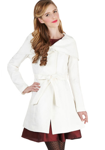 Cutting Neige Coat - Long, Woven, 1, White, Solid, Buttons, Vintage Inspired, Long Sleeve, Good, Collared, Belted, Pockets, White
